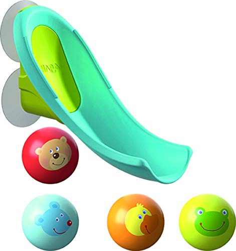HABA 304870 - Badespaß Wasserrutsche, Kugelbahn-Badespielzeug mit kleiner Wasserrutsche und 4 Tiermotiv-Kugeln, Spielzeug ab 2 Jahren