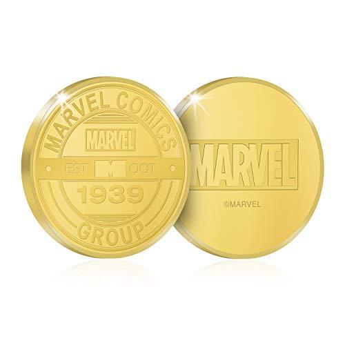 IMPACTO COLECCIONABLES Marvel 80 Aniversario - Moneda / Medalla Oficial acuñada en Oro Puro 24K presentada en Blister Coleccionista - 18mm