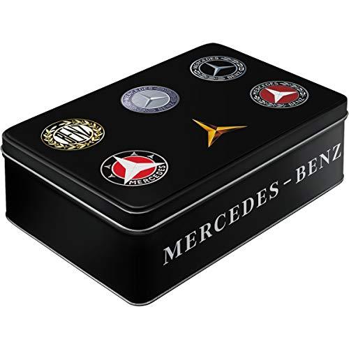 Nostalgic-Art 30746 Mercedes-Benz-Logo Evolution Keks-Dose | Aufbewahrungs-Box | Metall| mit Scharnierdeckel Vorratsdose Flach, Bunt, 23 x 16 x 7 cm