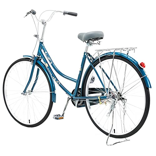 Kingtowag Womens Beach Cruiser Bike 26 inch Single Speed Bicycle for Women Comfortable Bicycle with 17'' Frame Balance Bike Blue(US Stock) (Blue)