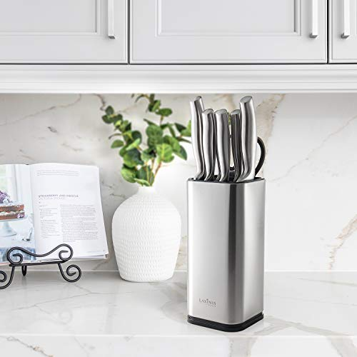"""Laxinis World Universal Knife Block, Stainless-Steel Modern Rectangular Design with Scissors-Slot, Knife Holder Countertop Storage, Holds 12 8""""-Blade Knives, 9.1"""" by 4"""""""