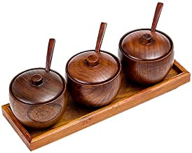 Seasoning Box Set Wooden Condiment Compartment Spice Jars Storage Box Container for Kitchen Storage