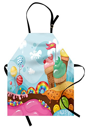 Ambesonne Ice Cream Apron, Dessert Land with Rainbow Candies Lollipop Trees and Cupcake Mountains Cartoon, Unisex Kitchen Bib with Adjustable Neck for Cooking Gardening, Adult Size, Pink Blue