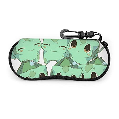 DraSports Fundas de Gafas Bulbasaur Funda impermeable con mosquetón para gafas de seguridad con cremallera, gafas de sol portátiles, funda suave, clip para cinturón Multifunción