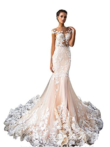 Tianshikeer Meerjungfrau Hochzeitskleid Spitze Tüll Sexy Brautkleider Tiefer Rücken