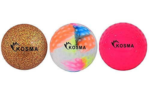 Kosma Set mit 3 Hockeybällen | Outdoor Sports PVC Übungsbälle (Pink Dimple, goldener Glitzer, mehrfarbig glatt)