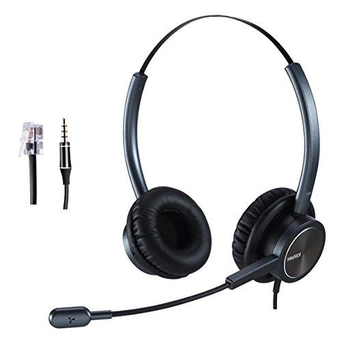 MAIRDI Telefon Headset mit Mikrofon Noise Cancelling, Dual Büro CallCenter Festnetztelefonen Kopfhörer mit RJ11 und 3.5mm Klinke für Yealink T21P T42G T46G Grandstream und Handy PC Laptops Tablets