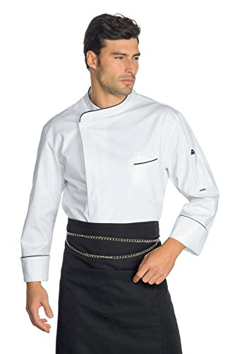 Isacco Jacke Cuoco Modell Wimbledon Weiß+Schwarz, Weiß + Schwarz, L, 100% Baumwolle, langärmlig