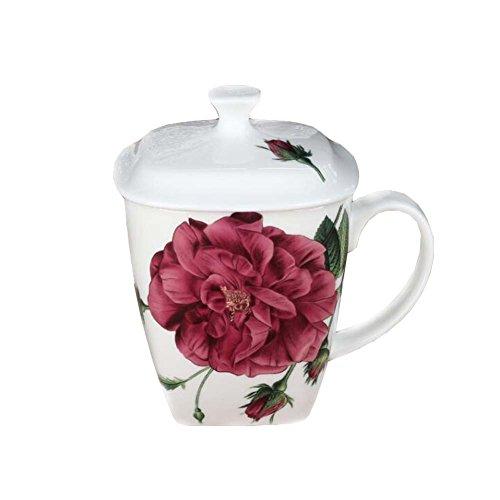 Hornet Park Chinesische Art Keramik Kaffeetasse Teetasse mit Deckel (Rosenmuster)