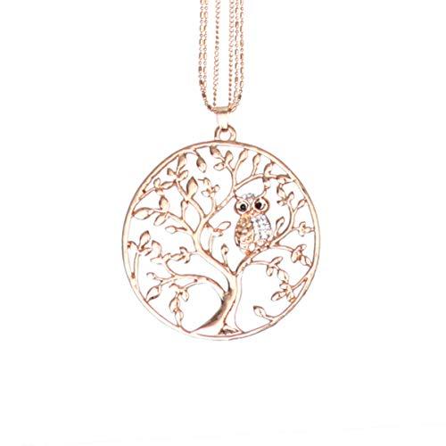 Colar com pingente de árvore da vida Amosfun com coruja de animal de cristal, longo, gargantilha de clavícula, suéter corrente, joia de presente para mulheres e mulheres (ouro rosa)