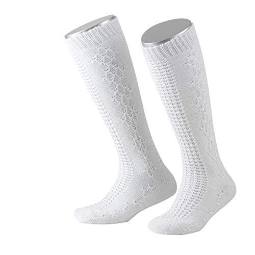 JD Mädchen Kinder Trachtensocken Trachtenstrümpe Mädchensocken Weiß, 27-30