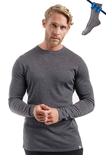Merino.tech 100% Organic Merino Wool Lightweight Men's Base Layer Long Sleeve Thermal T-Shirt + Wool Hiking Socks (Large, Charcoal Gray 250)