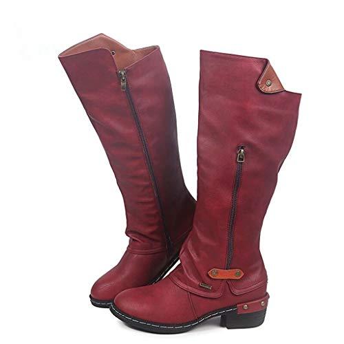 Botas de Mujer Otoño Invierno 2020 Tacon Bajo Zapatos Largas Botas Forrado de Piel Antideslizante Cómodo Cremallera Hebilla