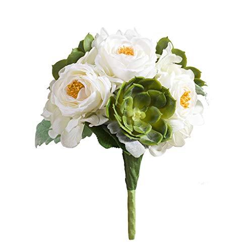 NYKK Hogar, Oficina, Boda Simulación Rose Bouquet Creativa Sala de Estar Dormitorio Escritorio Floral Decoración Flores Artificiales (Color : B)