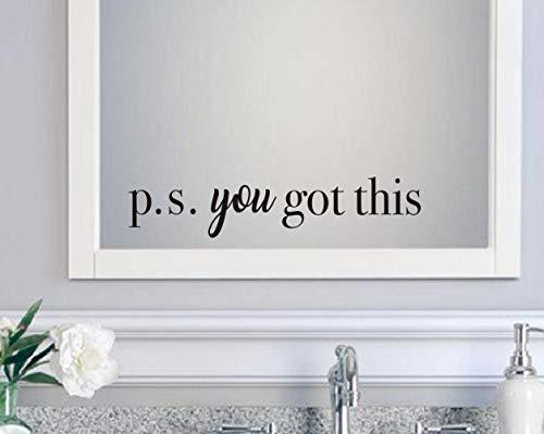 You Got This - Vinilo adhesivo de pared, diseño de actitud positiva, para oficina, baño, espejo, dormitorio, decoración motivacional, color negro