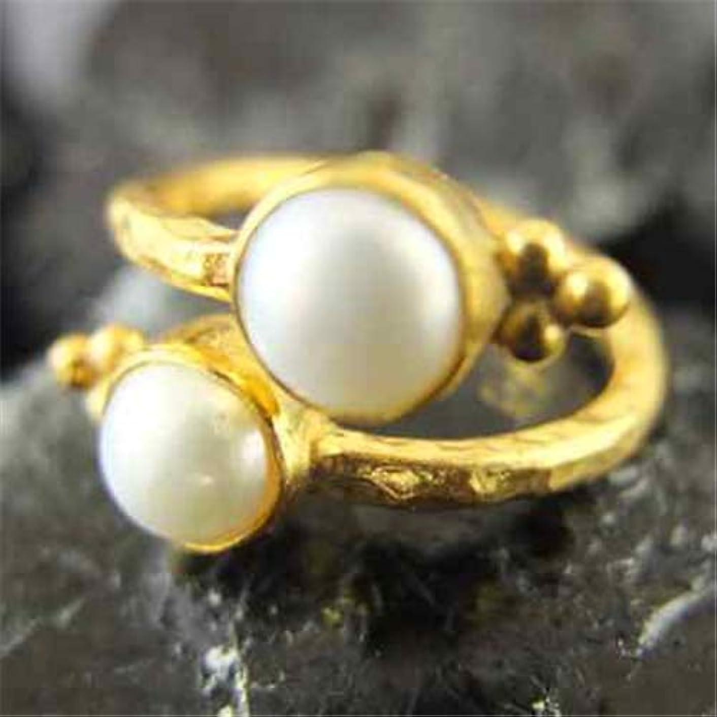 Ancient Design Handmade Hammered Band Designer Pearl Ring 24K Gold over 925 Sterling Silver