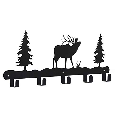 Wandgarderobe aus Metall, 43,2 cm, 5 Haken, Schlüsselring, Organizer für Hut, Kleidung, Badetuchhaken, schwarzes Hirsch-Muster