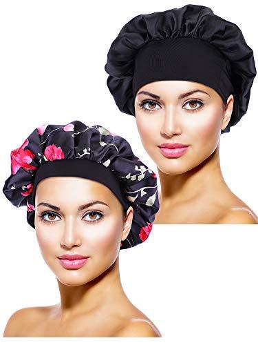 2 Stücke Satin Bonnet Nacht Schlaf Mütze Schlaf Kopf Abdeckung für Damen Mädchen Schlafen (Schwarze, Schwarze Blume Gedruckt)