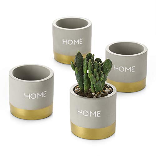 ZONESUM Succulent Planters, 3' Concrete Gold Pots with Drainage Hole, Plant Pots for Cactus Herbs, Ideal Decor for Indoor Outdoor Home Office Garden, Set of 4
