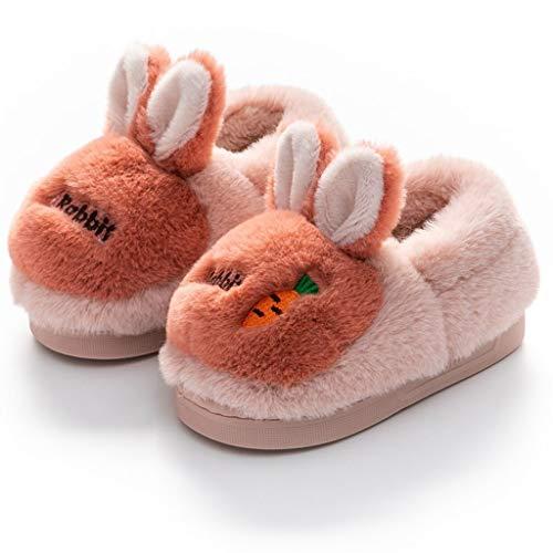 ECSWP MSGWNHLPSB Bonitas Zapatillas de algodón de Conejo de Dibujos Animados, Zapatos para el hogar para niñas y niños, Zapatillas de Piel mullida Antideslizantes de Fondo Suave, Zapatos de Interior
