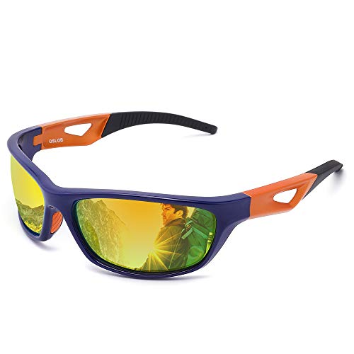 OSLOB gafas de sol polarizadas deportivas para mujeres hombres que completan operando protección uv lentes de conducción st003 (blu)