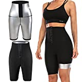YMIFEEY Pantalones Sauna Mujer Corto Pantalón de Sudoración Cintura Alta Nanotecnología Leggins Reductores Adelgazantes Pantalon Mallas Fitness Push Up para Deporte Running Yoga, L/XL