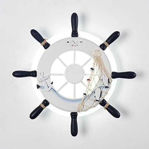 Kioiien Luz de pared LED para niños estilo mediterráneo Sconce Lighting Fistadure Wooden Barra Volante con el anclaje de la red de la pesca Lámpara de colgante de la pared de la gaviota para la sala d