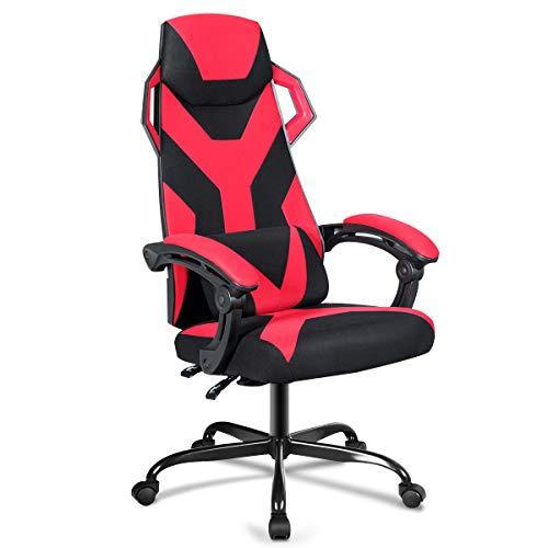 COSTWAY Gaming Stuhl mit Liegen- und Massagefunktion, PC Stuhl mit Verbindungsarmlehne, Racingstuhl höhenverstellbar, Computerstuhl drehbar, Schreibtischstuhl inkl. Kopfstütze und Lendenkissen (Rot)