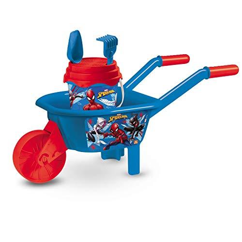 Mondo Toys - Spiderman Wheelbarrow Set - Carriola + Set spiaggia per Bambini - il Gioco Include carriola, secchiello, paletta, rastrello innaffiatoio - 18428