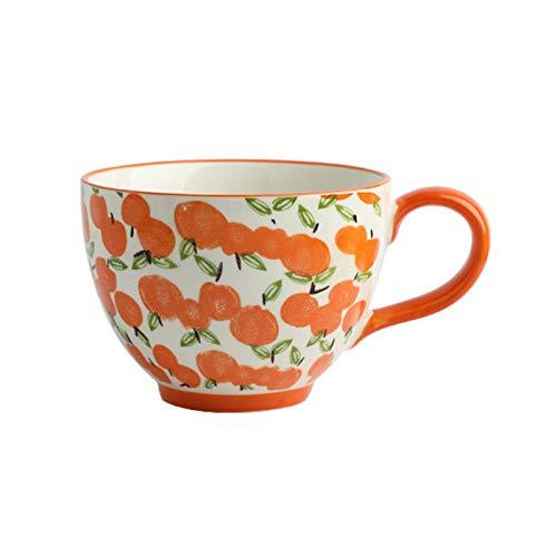 YHshop Taza de café 13.5 oz Taza de café de cerámica Grande Copa de café Taza de café con Mango Grande Taza de té Pintado a Mano Taza de Leche Copa de Leche Taza de Agua (Color : D)