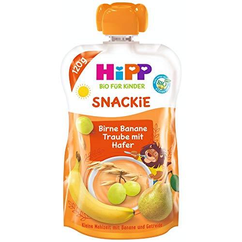 HiPP Sportsfreund Quetschbeutel (Birne-Banane-Traube mit Hafer, 100% Bio-Früchte ohne Zuckerzusatz) 6 x 120 g Beutel