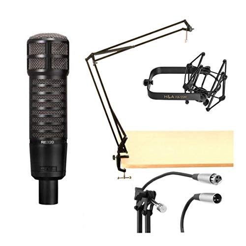 Electro-Voice RE320 Variable-D Dynamic Vocal and Instrument Microphone + On-Stage MBS5000 Broadcast Arm with XLR Cable + H&A Microphone + H&A Microphone Suspension Shockmount