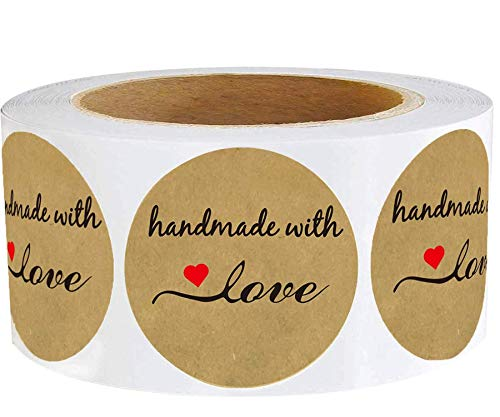 """Handmade with Love Stickers with Red Hearts 1.5"""" - Round Natural Brown Kraft Handmade Canning Stickers 500 Labels Per Roll"""