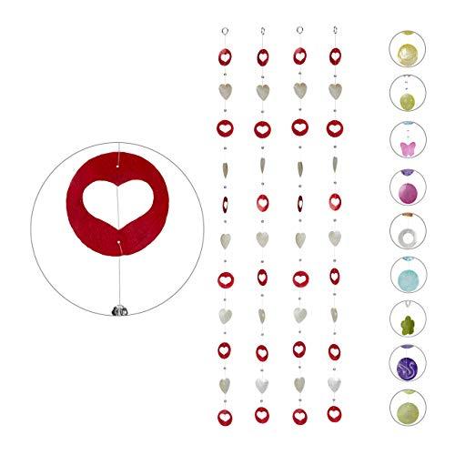 Relaxdays Capiz slinger 4-delige set, voor ramen, balkon, deur, schelpplaatjes gordijn, decoratieve kettingen 180 cm, hart, wit-rood, 4 stuks