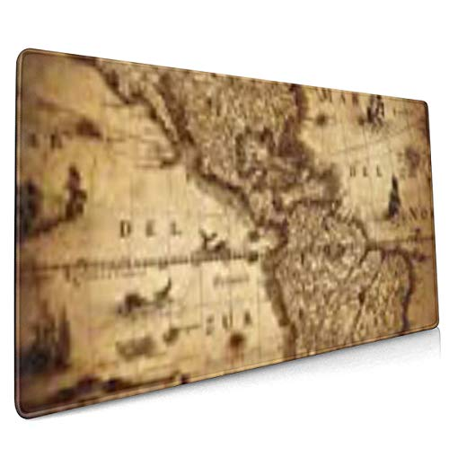 Multi-Function Gaming Mouse Pad, Non-Slip Rubber Base, Computer Keyboard Mouse Pads for Office and Games - Old Map of America 1632 Vintage Ancient Antique World Atlas