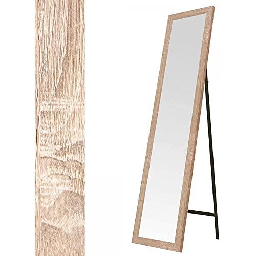 Espejo de Pie en Madera de Color Natural, Acabado Natural, para Dormitorio, Fácil Montaje 30x150cm - Hogar y Más - Marrón Claro