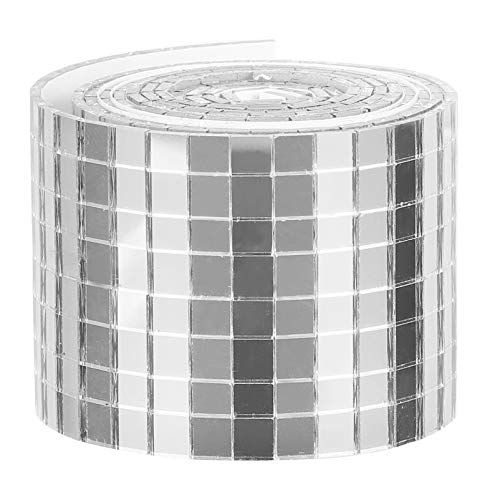 HEALLILY Azulejos de Mosaico Autoadhesivos Mini Azulejos de Espejo Cuadrados Hojas de Espejo de Vidrio Adhesivo de Mosaico Calcomanías de Pared Impermeables para Decoración de Manualidades