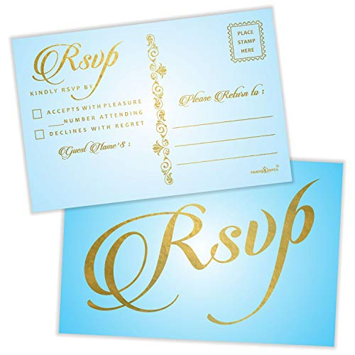 """RSVP Postcards (Pack of 50) Gold Foil Stamping with Mailing Side 4""""x6"""" Response Cards All Occasion Mailable – Sky Blue"""