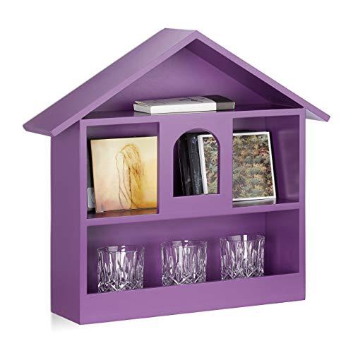 Relaxdays Wandregal Hausform m. 3 Fächer, dekorativer Setzkasten, matt lackiertes Holzhaus, HxBxT: 50x53x15 cm, violett