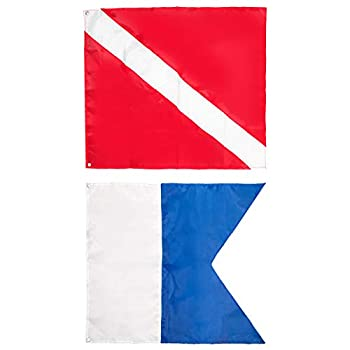 Dawitrly Safety Dive Flags 2Pieces Polyester Diver Down Flag + International Signal Alpha Flag 20x24inches Use on Float Buoy Boat for Snorkeling/Diving/Spearfishing/Scuba