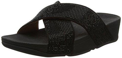 FitFlop Ritzy Slide, Sandalias con Punta Abierta Mujer, Negro (Black 001), 38 EU