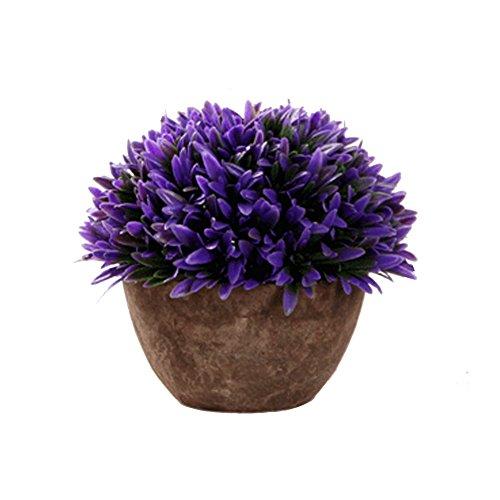 iTemer moderno Artificial Plantas con Pot plástico arbustos césped decoración de mesa para al aire libre oficina casa cocina jardín 15 x 13 cm