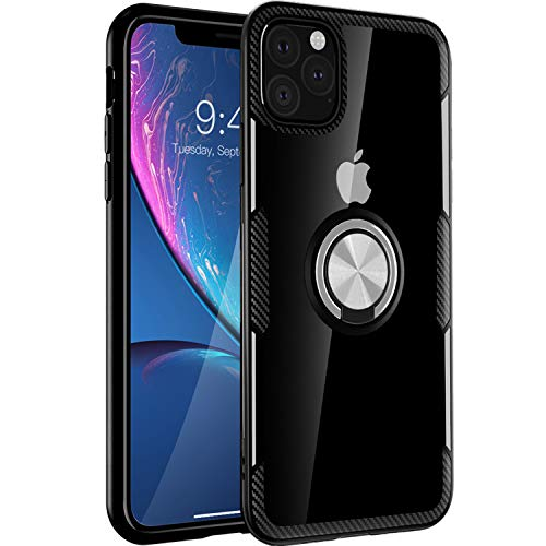 iPhone 11 Case 6.1 inch 2019, Carbon Fiber Design Clear Crystal Anti-Scratch Case with 360 Degree Rotation Ring Kickstand(Work with Magnetic Car Mount) for Apple iPhone 11,Black