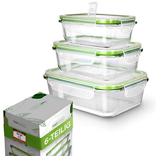 Fresh Master Frischhaltedose Glas Set - Testurteil: SEHR GUT - 100% auslaufsichere + luftdichte Vorratsdosen mit Deckel I Vorratsdosen Glas Meal Prep Boxen Glas Aufbewahrungsbox (6 teilig)
