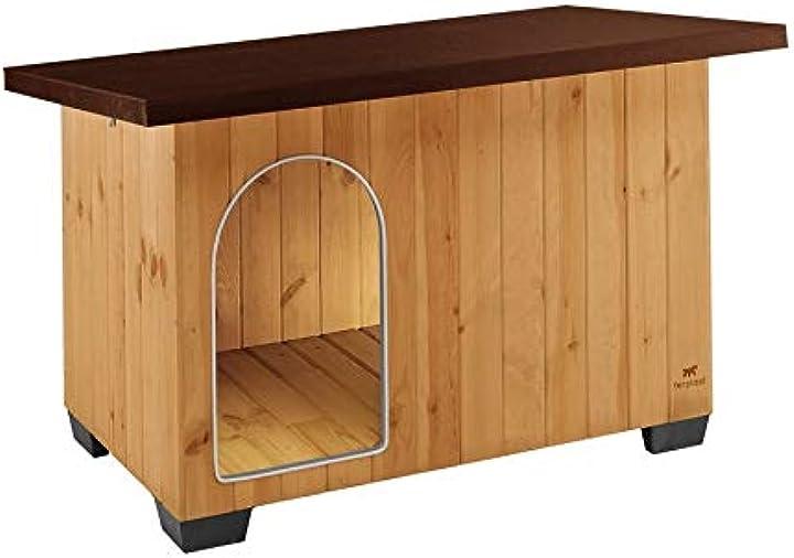 Cuccia casetta per cani baita 100 in legno fsc, piedini isolanti in plastica ferplast xl 87016000