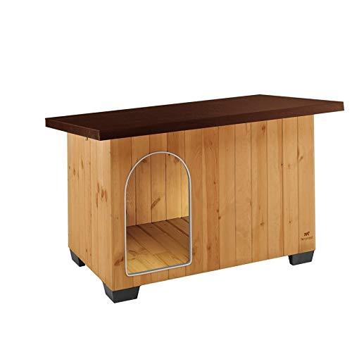 Ferplast Cuccia casetta per cani BAITA 100 in legno FSC, Piedini isolanti in plastica, Porta con antimorso in alluminio, Tetto apribile