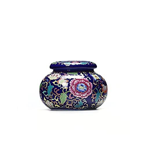 Baobaoshop Cerámico Cerámica Trazo de té Chino Estilo Estilo Alimento Tanques de Almacenamiento Exquisito Candy Selling Latas Jar Dried Tuerca Recipiente Tarro Pote (Color : 1 Ziyou 8.8x6.5cm)