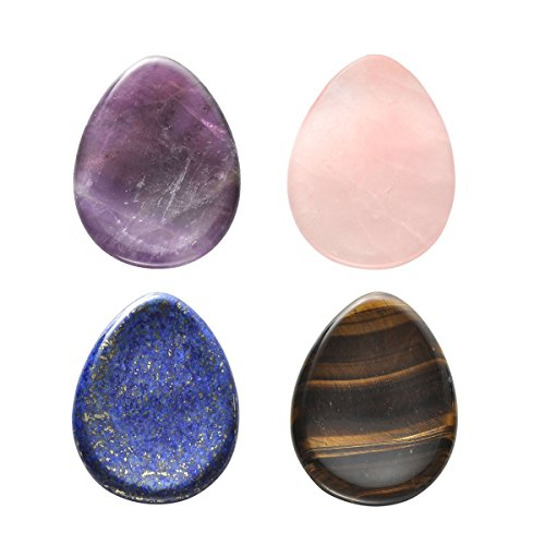 CrystalTears 4 PCS Thumb Worry Stone-Amethyst Rose Quartz Lapis Lazuli Tiger's Eye Healing Crystal Pocket Palm Stone