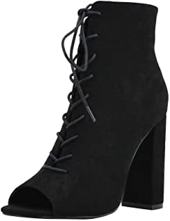 Women's Open Peep Toe Front Lace-Up Bootie Block Chunky Heel Shoe Boots