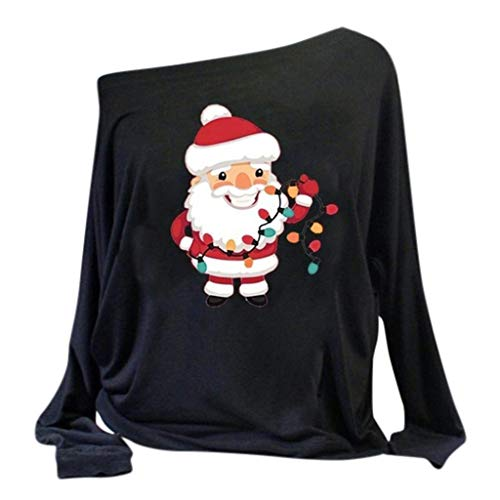 Review TWGONE Christmas Shirts for Women Long Sleeve Off Shoulder(Small,Za-Black)